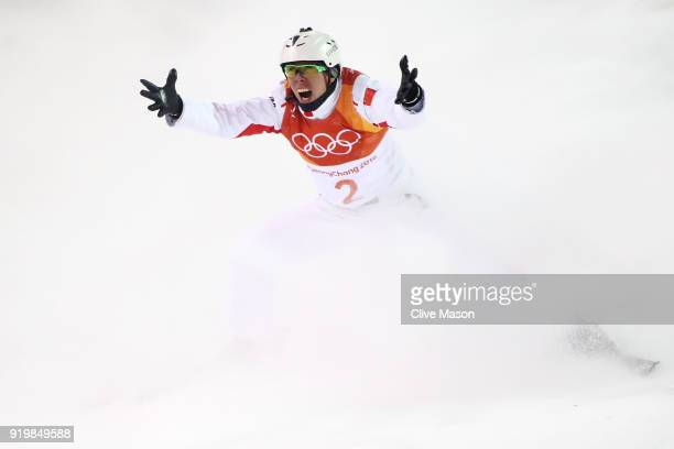 Jia Zongyang of China celebrates during the Freestyle Skiing Men's Aerials Final on day nine of the PyeongChang 2018 Winter Olympic Games at Phoenix...