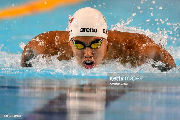 Jiahao Shen of China competes in Men's 100m Butterfly heats during day 2 of Buenos Aires 2018 Youth Olympic Games at Aquatics Center of Olympic Park...