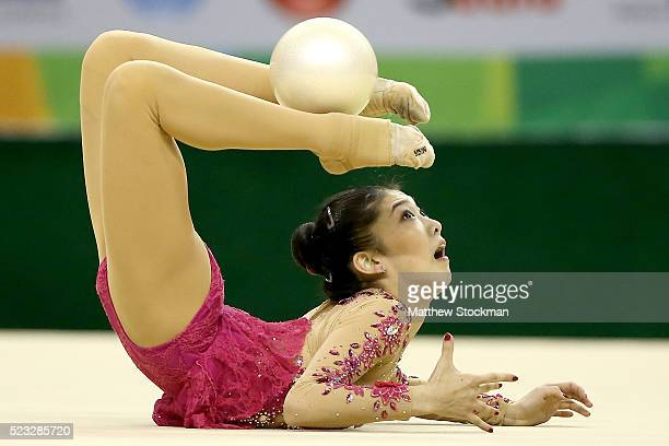 Jiahui Liu of China competes during the Rhythmic Gymnastics Individual AllAround final at the Final Gymnastics Qualifier Aquece Rio Test Event for...
