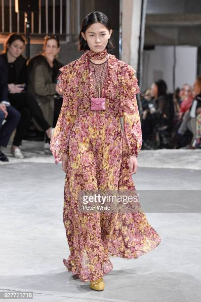 JiaLi Zhao walks the runway during the Giambattista Valli show as part of the Paris Fashion Week Womenswear Fall/Winter 2018/2019 on March 5 2018 in...