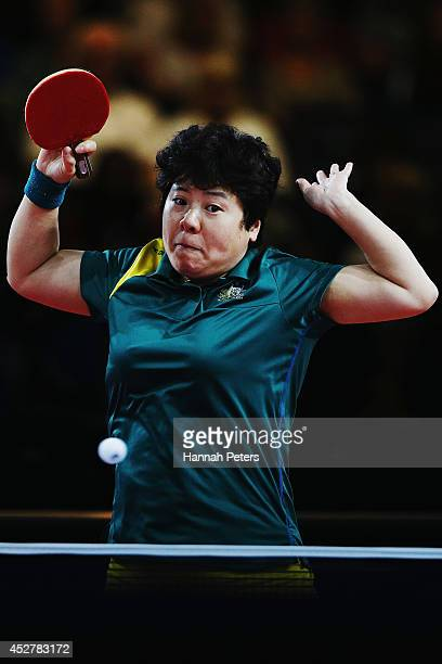 Jian Fang Lay of Australia plays a forehand against Manika Batra of India during the Women's Team bronze medal match between India and Australia at...
