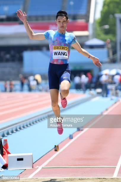Jianan Wang of China competes in the Men long jump during the SEIKO Golden Grand Prix at Todoroki Athletics Stadium on May 21 2017 in Kawasaki Japan