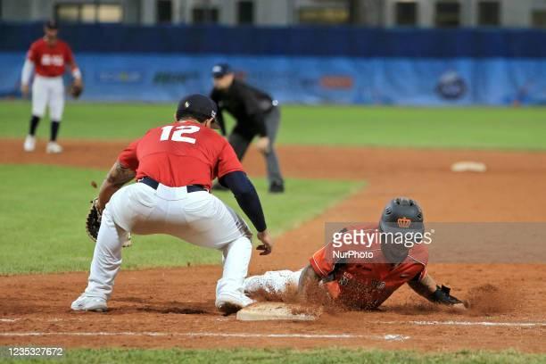 Jiandido Tromp and Alex Crosby at the first base during the Baseball match Baseball European Championship 2021 - Quarter finals - Netherlands vs...