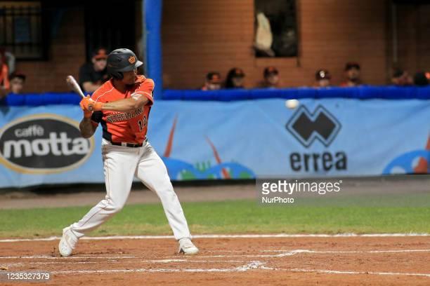 Jiandido Tromp hits the ball during the Baseball match Baseball European Championship 2021 - Quarter finals - Netherlands vs Great Britain on...