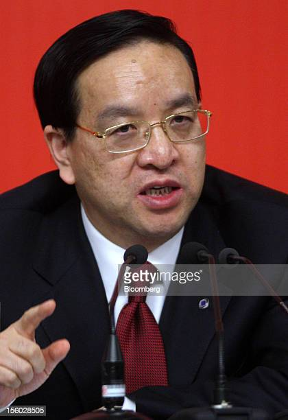 Jiang Chaoliang, chairman of Agricultural Bank of China Ltd., speaks during a news conference at the 18th National Congress of the Communist Party of...