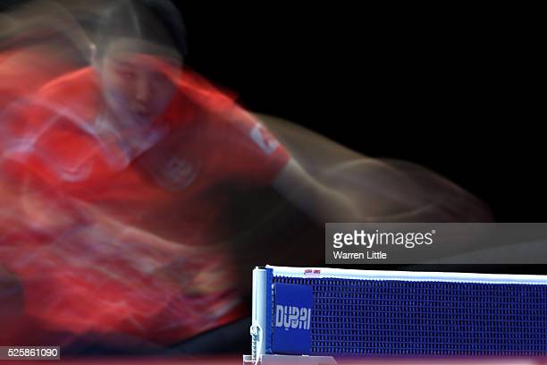 Jiang Huajun of Hong Kong in action in the Women's Singles Challenge against Manika Batra of India during day two of the Nakheel Table Tennis Asian...