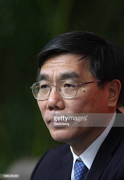 Jiang Jianqing, chairman of Industrial and Commercial Bank of China Ltd. , attends a news conference at the 18th National Congress of the Communist...