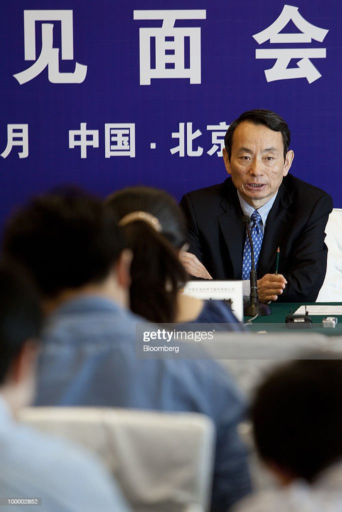Jiang Jiemin, chairman of China National Petroleum Corp. (PetroChina), speaks during a news conference in Beijing, China, on Thursday, May 20, 2010. PetroChina plans to conduct business in Iran at a 'normal pace,' Jiang said today. Photographer: Nelson Ching/Bloomberg via Getty Images
