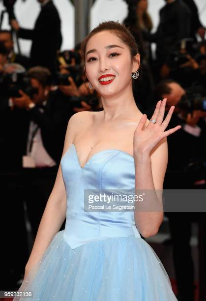 Jiang Mengjie attends the screening of 'Burning' during the 71st annual Cannes Film Festival at Palais des Festivals on May 16 2018 in Cannes France