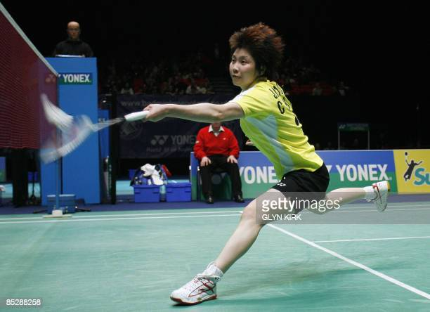 Jiang Yanjiao of China competes in her women's semi final match against Tine Rasmussen of Denmark during the All England Open Badminton Championships...