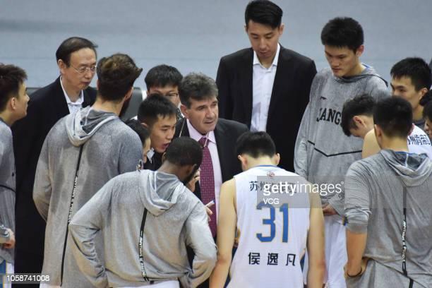 Jiangsu Dragons Kentier's head Memi Becirovic reacts during the 2018/2019 Chinese Basketball Association League second round match between Jiangsu...