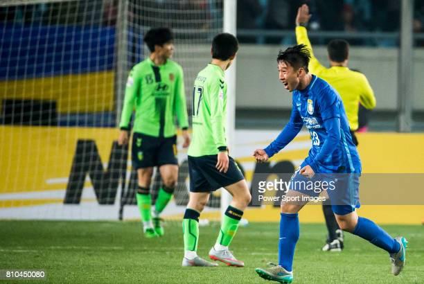 Jiangsu FC defender Ren Hang reacts during the AFC Champions League 2016 Group Stage Match Day 2 between Jiangsu FC vs Jeonbuk Hyundai Motors match...