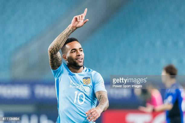 Jiangsu FC Forward Alex Teixeira celebrates after scoring his goal during the AFC Champions League 2017 Group H match between Jiangsu FC vs vs Gamba...