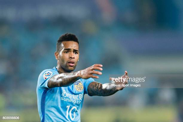 Jiangsu FC Forward Alex Teixeira gestures during the AFC Champions League 2017 Round of 16 match between Jiangsu FC vs Shanghai SIPG FC at the...