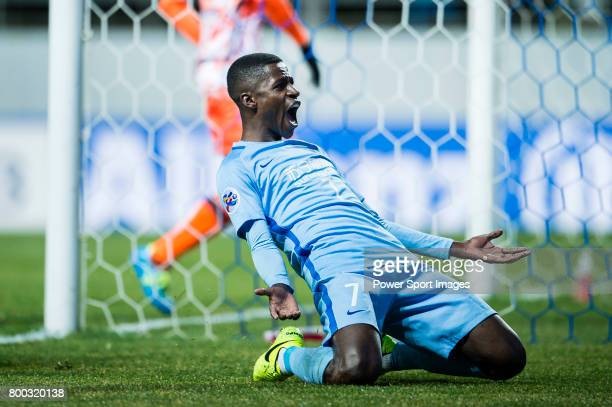 Jiangsu FC Midfielder Ramires Santos celebrates after scoring his goal during the AFC Champions League 2017 Group H match between Jeju United FC vs...