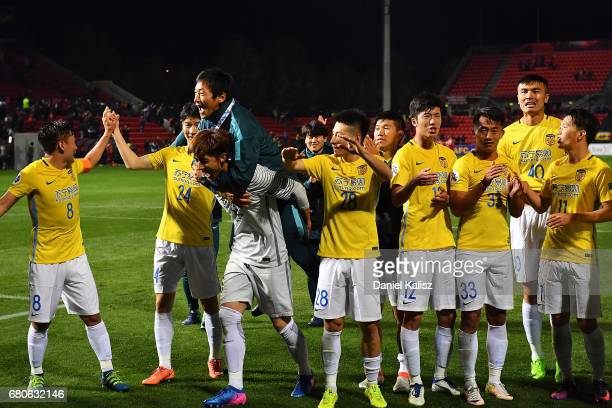 Jiangsu FC players celebrate after the AFC Champions League match between Adelaide United and Jiangsu Sainty at Hindmarsh Stadium on May 9 2017 in...
