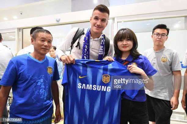 Jiangsu Suning's new signing Ivan Santini arrives at airport on July 30 2019 in Nanjing Jiangsu Province of China