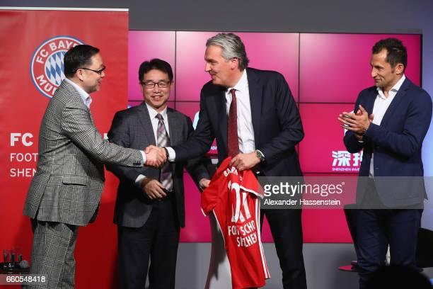 Jianguang Wang Chairman of China Sports Futurity Investment Yongjian Wang President Shenzen Investment Holdings Joerg Wacker Board member of FC...
