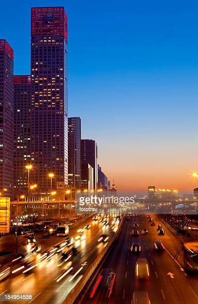 Jianguomen Avenue in Beijing Central Business District, China