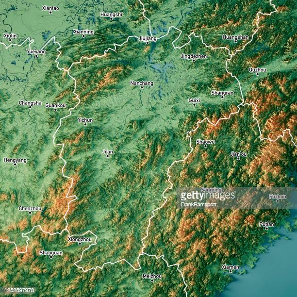 jiangxi china 3d render topographic map color border cities - frank ramspott stock pictures, royalty-free photos & images