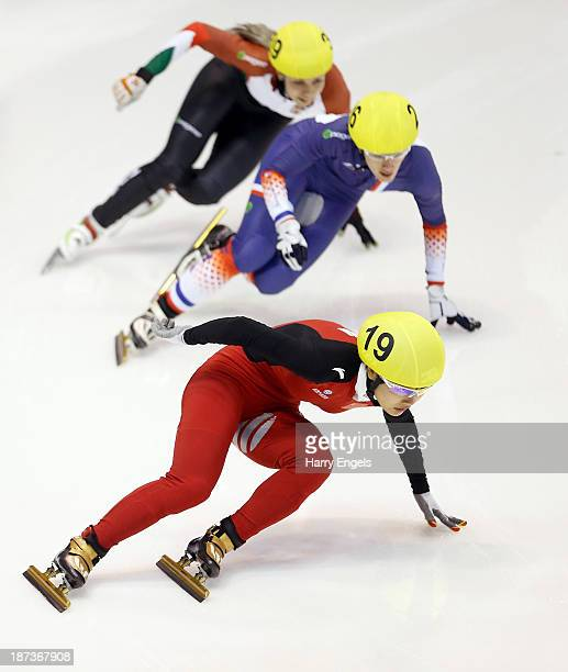 Jianrou Li of China leads Veronique Pierron of France and Rozsa Darazs of Hungary during the Women's 1000m preliminaries on day two of the Samsung...
