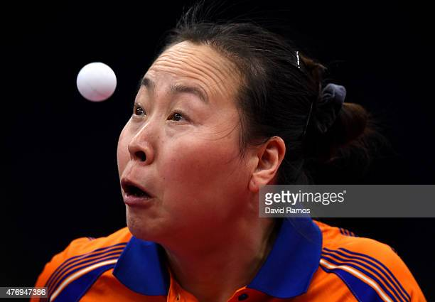 Jiao Li of Netherlands competes in the Women's Team Table Tennis first round match during day one of the Baku 2015 European Games at Baku Sports Hall...