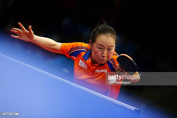 Jiao Li of Netherlands competes in the Women's Team Table Tennis semi final match against Margaryta Pesotska of Ukraine during day two of the Baku...