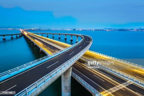 jiaozhou bay bridge of qingdao,shandong province,china  - new bay bridge stock pictures, royalty-free photos & images