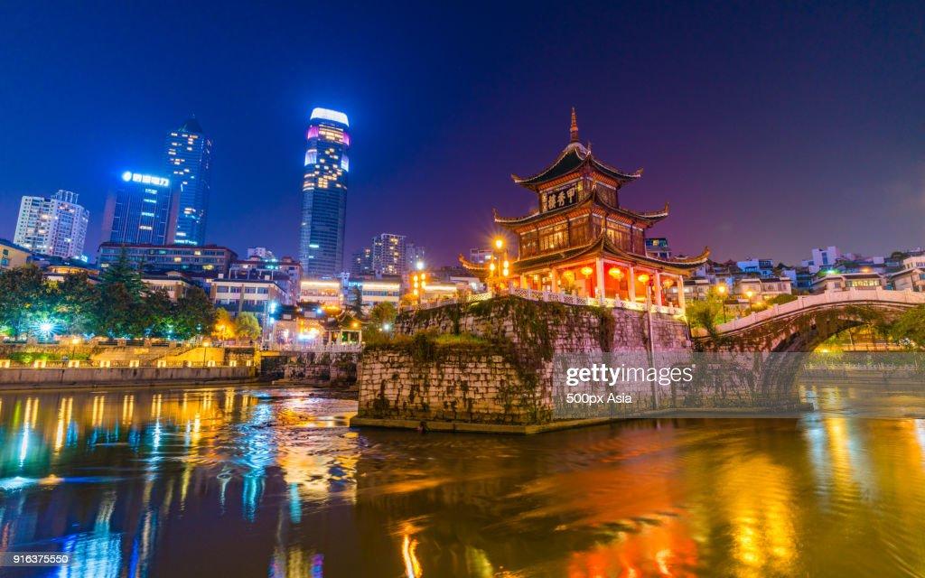 JiaxiuPavilion in lake at night, Guiyang,GuizhouProvince, China : Foto de stock