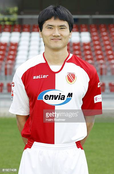Jiayi Shao poses during the Bundesliga first Team Presentation of FC Energie Cottbus on July 14 in Cottbus, Germany.