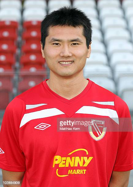 Jiayi Shao poses during the FC Energie Cottbus team presentation at Stadion der Freundschaft on July 14 2010 in Cottbus Germany