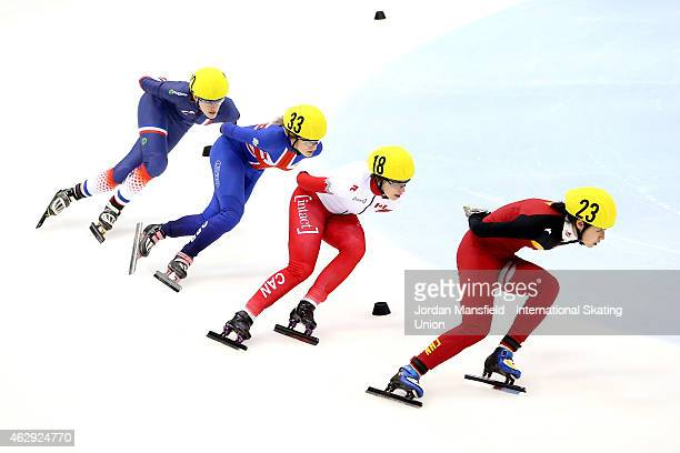 Jiaying Tao of China #18 Marianne StGelais of Canada #33 Elise Christie of Great Britain and Veronique Pierron of France compete in the Women's 1000m...