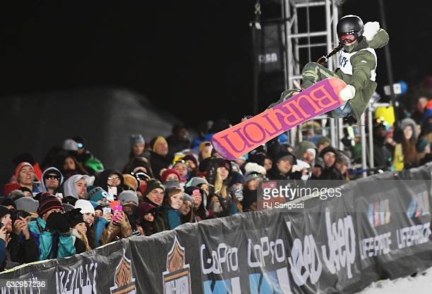 Jiayu Liu flies over the crowd during the women's Snowboard halfpipe final at the X Games at Buttermilk Mountain in Aspen January 28 2017