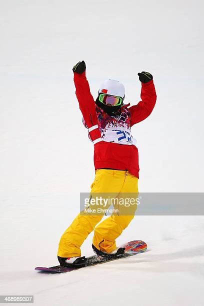 Jiayu Liu of China competes in the Snowboard Women's Halfpipe Finals on day five of the Sochi 2014 Winter Olympics at Rosa Khutor Extreme Park on...