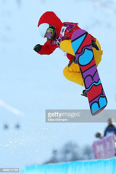 Jiayu Liu of China competes in the Snowboard Women's Halfpipe Qualification Heats on day five of the Sochi 2014 Winter Olympics at Rosa Khutor...