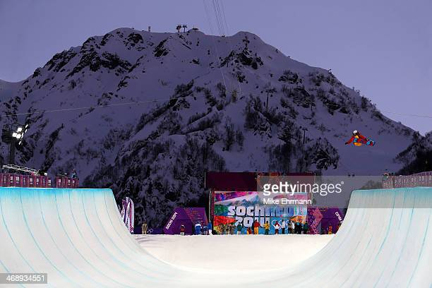 Jiayu Liu of China practices before the Snowboard Women's Halfpipe Semifinals on day five of the Sochi 2014 Winter Olympics at Rosa Khutor Extreme...