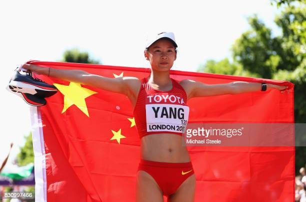 Jiayu Yang of China celebrates as she wins gold in the Women's 20km Race Walk final during day ten of the 16th IAAF World Athletics Championships...