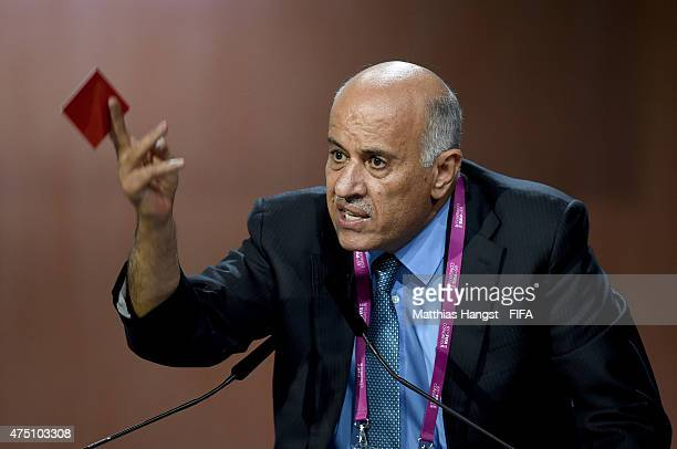 Jibril Al Rajoub President of the Palestinian Football Association talks during the 65th FIFA Congress at the Hallenstadion on May 29 2015 in Zurich...