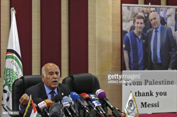Jibril Rajoub the head of the Palestinian Football Association speaks during a press conference in the West Bank city of Ramallah on June 6 2018...