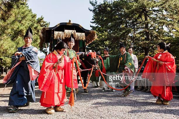 jidai matsuri festival in kyoto, japan - ox cart stock-fotos und bilder
