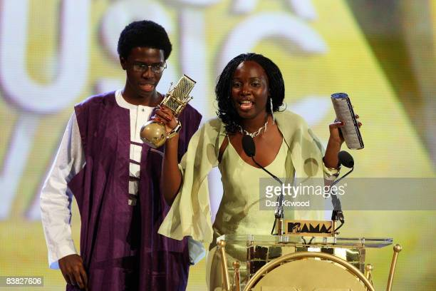 Jide Rotilu and Adetoro Rotilu receive their My Video Award on stage at the MTV Africa Music Awards 2008 at the Abuja Velodrome on November 22, 2008...