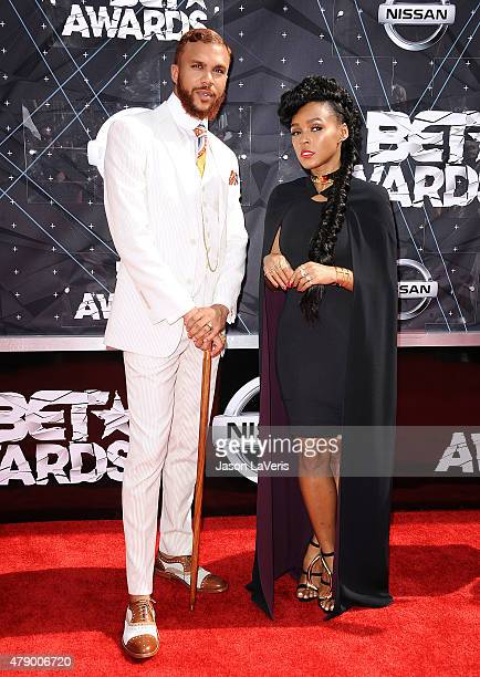 Jidenna and Janelle Monae attend the 2015 BET Awards at the Microsoft Theater on June 28 2015 in Los Angeles California