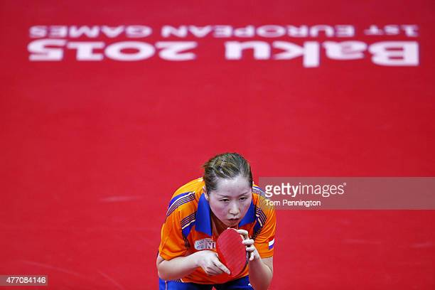 Jie Li of Netherlands competes in the Women's Team Table Tennis quarter final match against Natalia Partyka of Poland during day two of the Baku 2015...