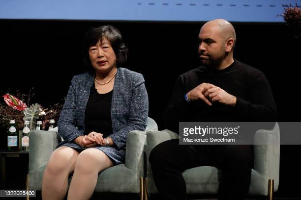 Jie Lu and Daniel Avakian during The Future of Fashion is Intelligent talk during Afterpay Australian Fashion Week 2021 Resort '22 Collections at...