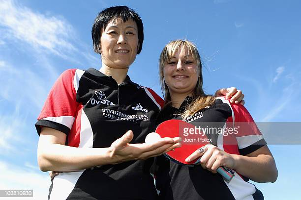 Jie Schoepp and Kristina Kovac of SC Poppenbuettel are pictured during the Table Tennis Team Presentation of the SC Poppenbuettel at Steigenberger...