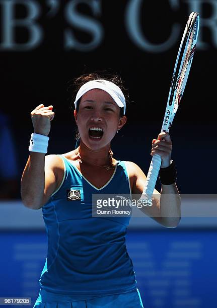 Jie Zheng of China celebrates winning a point in her quarterfinal match against Maria Kirilenko of Russia during day nine of the 2010 Australian Open...
