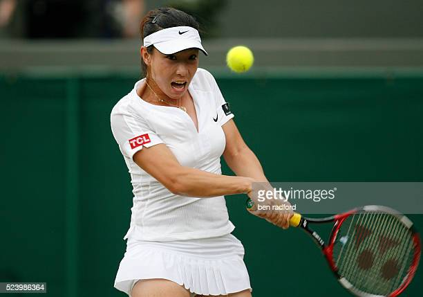 Jie Zheng of China during her 3rd Round match against Ana Ivanovic of Serbia on Day 5 of the 2008 Wimbledon Tennis Championships at the All England...