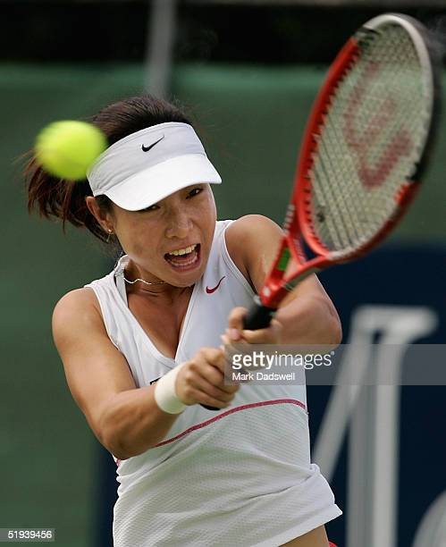 Jie Zheng of China in action against Klara Koukalova of the Czech Republic during day four of the Moorilla International at the Domain Tennis Centre...