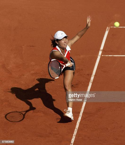 Jie Zheng of China in action against Nadia Petrova of Russia during the fourth day of the Womens Qatar Telecom German Open at the Rot Weiss Berlin...