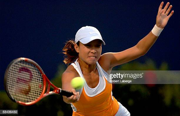 Jie Zheng of China plays Justine HeninHardenne of Belgium during the third round of the Sony Ericsson WTA Tour Rogers Cup tennis tournament on August...